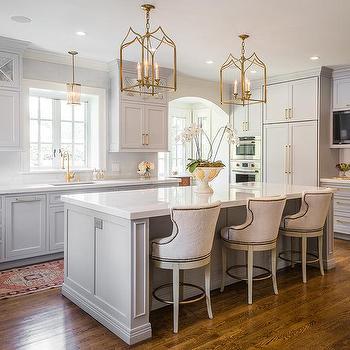 Brass Gothic Lanterns with Light Gray Center Island & Gold Gothic Kitchen Island Lanterns Design Ideas