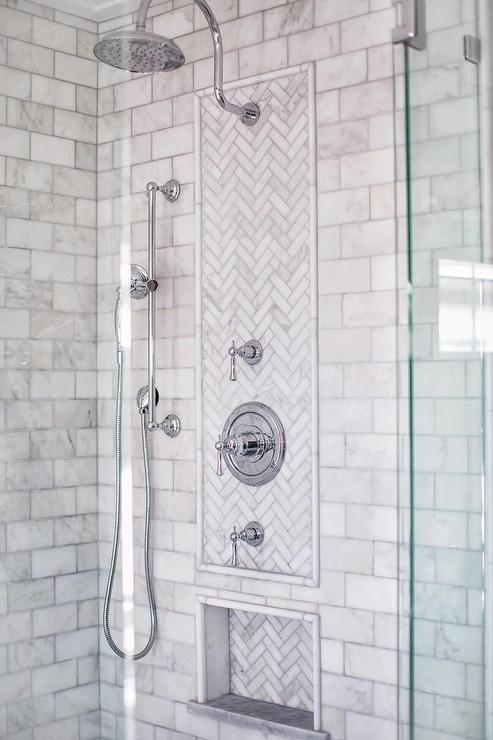 Marble Waterfall Bench In Shower Transitional Bathroom