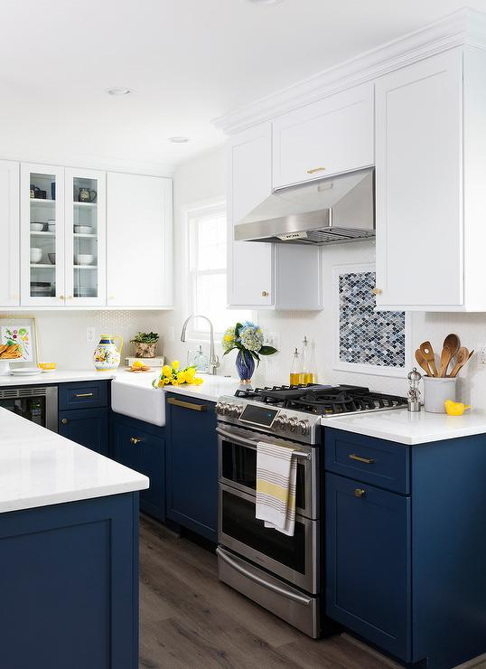 White and Blue Kitchen Colors - Transitional - Kitchen