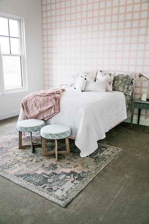 Pink Plaid Wallpaper On Accent Wall Transitional Bedroom