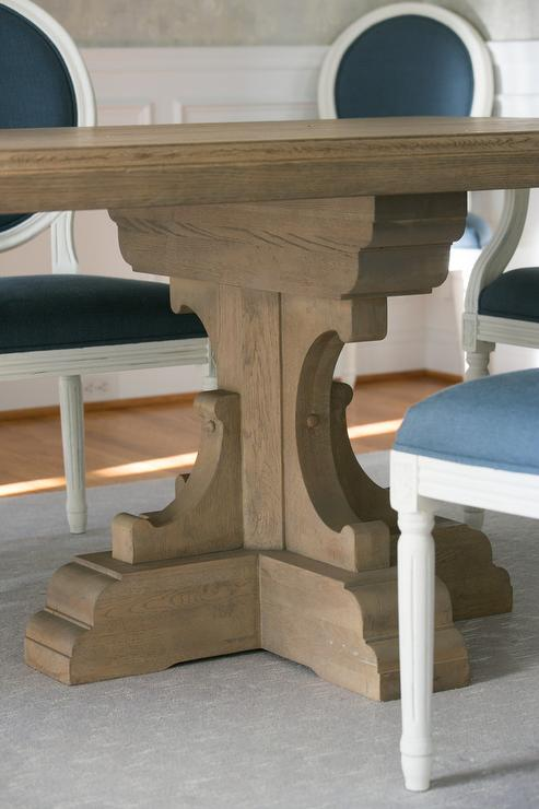 Blue Round Back French Chairs With Trestle Table