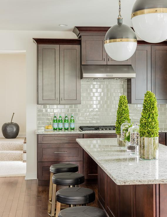 Brown Oak Cabinets With Gray Subway Tiles Transitional Kitchen