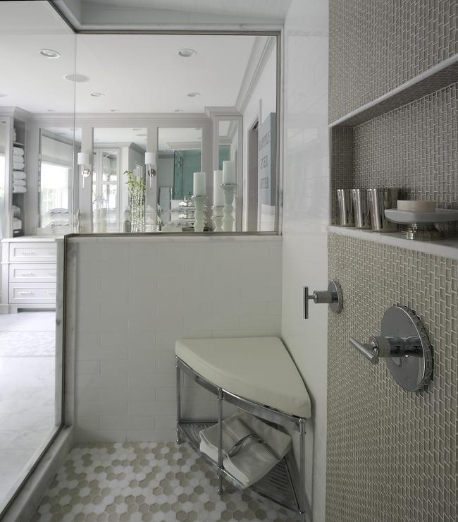 Freestanding Corner Shower Stool - Transitional - Bathroom