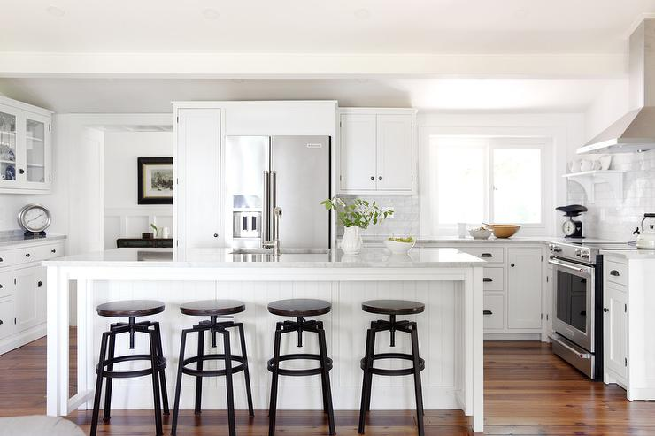 White Beadboard Island with Wood and Metal Industrial Stools ...