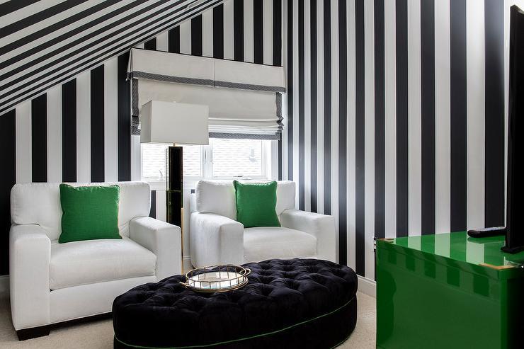 Vertical Black and White Stripe Walls - Contemporary ...
