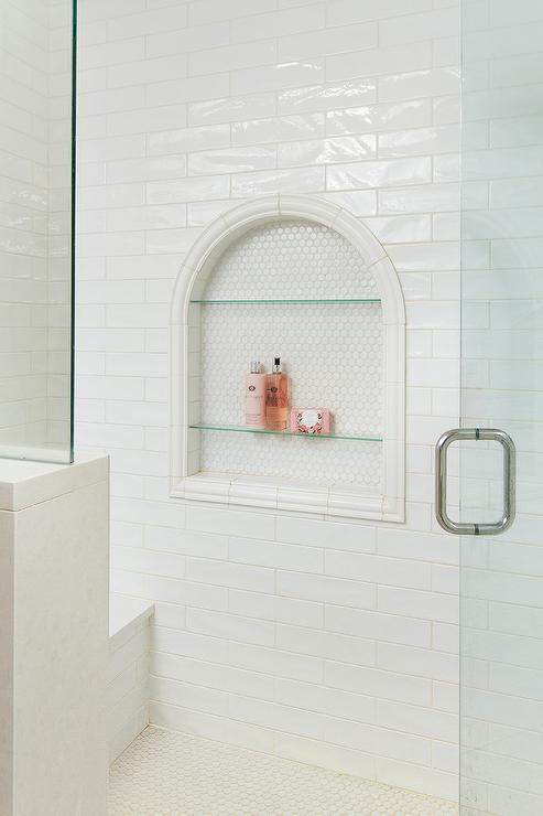Arched Shower Niche With Glass Shelves Transitional