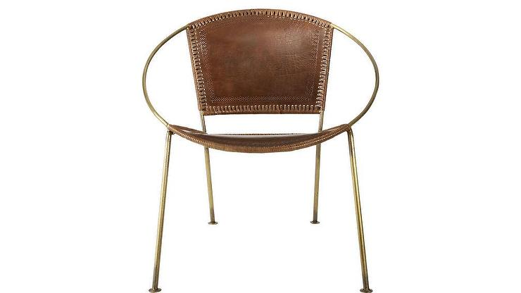 sc 1 st  Decorpad & Micaela Brown Leather Brass Ring Framed Chair