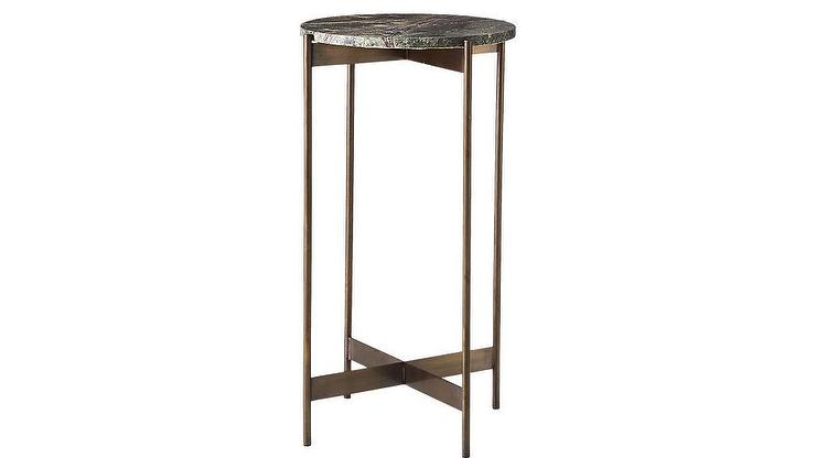 CB Round Bronze Marble Pedestal Tables - Cb2 round marble table