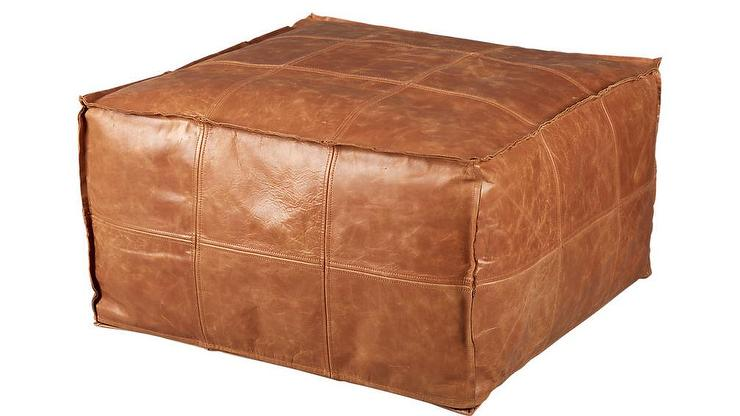 Terreno Brown Tufted Leather Ottoman