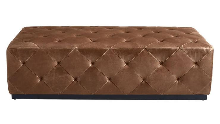 Swell Saddle Rectangular Brown Leather Tufted Ottoman Ibusinesslaw Wood Chair Design Ideas Ibusinesslaworg