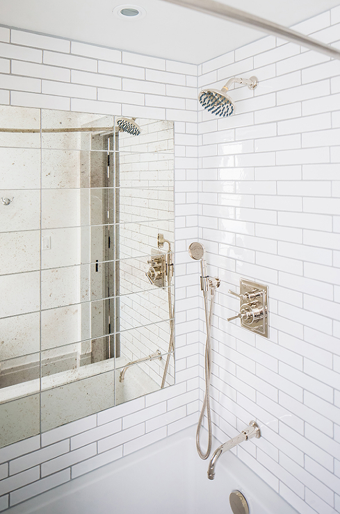 Antiqued Mirrored Shower Tiles Transitional Bathroom