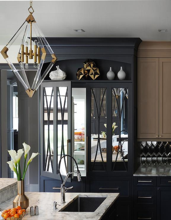 Black Mirrored Front Refrigerator Doors Contemporary