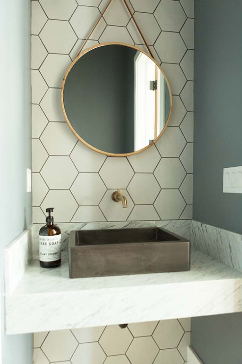 White Marble Floating Vanity With Black Vessel Sink Contemporary