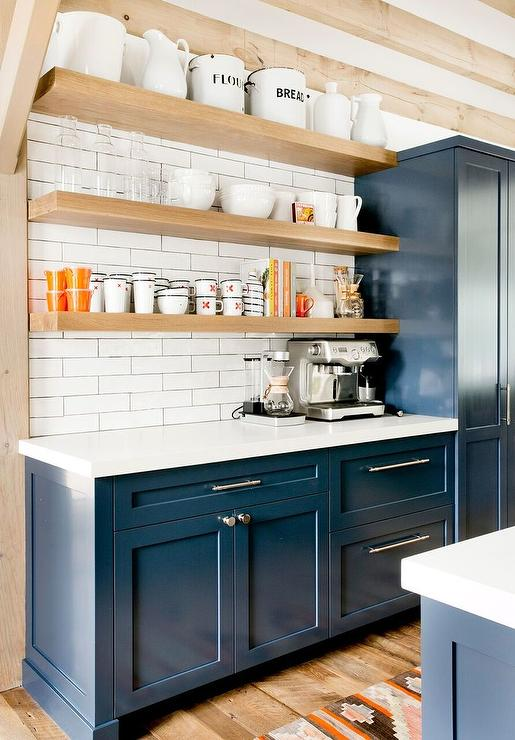 Navy Blue Shaker Cabinets with Blond Floating Shelves ...