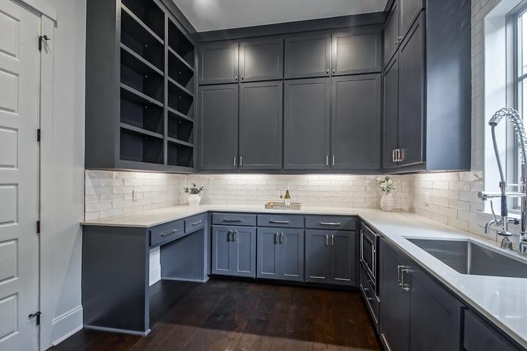 Dark Gray Blue Stacked Pantry Cabinets With White Quartz Countertop Transitional Kitchen
