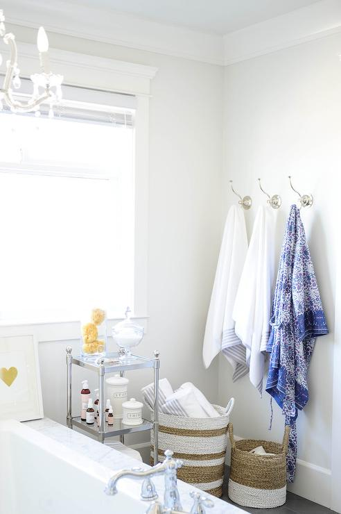 Nickel And Glass Bathroom Etagere Design Ideas
