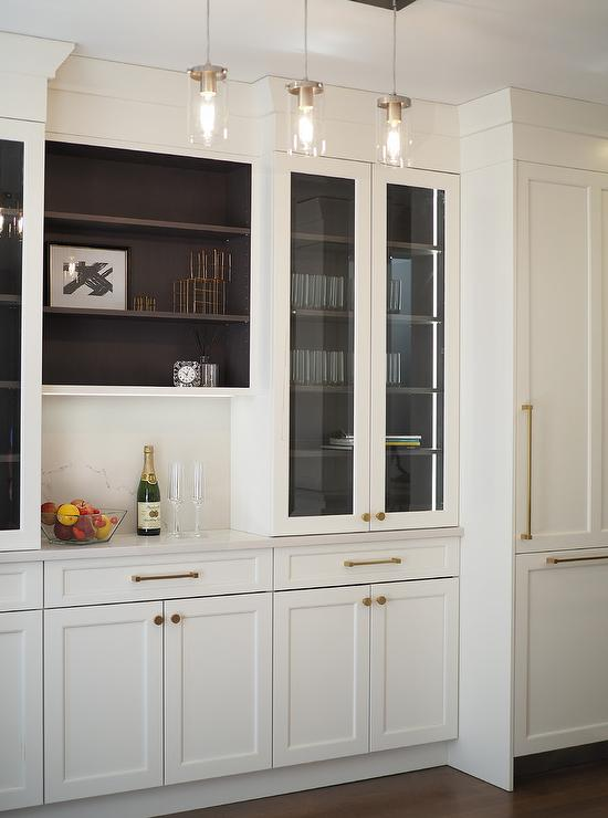 Glass Front Kitchen Bar Display Cabinets - Transitional ...