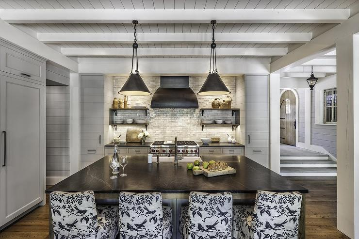 Gray Plank Cabinets With Soapstone Countertops