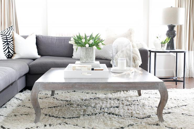 Stephanie Kraus Designs Blue And White Living Room A: Low Gray Sectional With CB2 Smart Round Marble Top Coffee