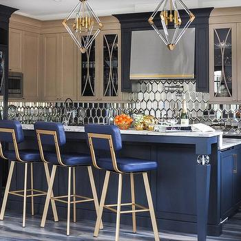 Brass Triangle Pendant Lights Over Kitchen Island