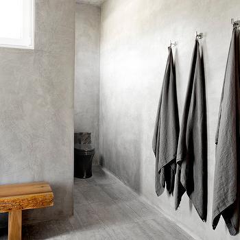 Concrete Like Bathroom Walls Design Ideas