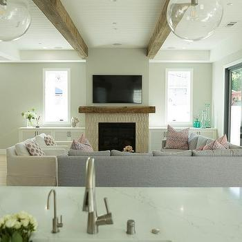 Taupe Glass Fireplace Tiles With Rustic Wood Mantel