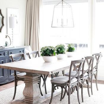 Cream And White Banded Dining Room Curtains Design Ideas