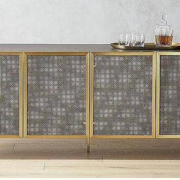 Trace Wire Mesh Cabinet Brass Credenza