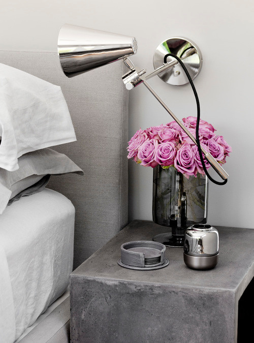 Light Grey Bedside Table: Gray Concrete Bedside Table With Light Gray Bed