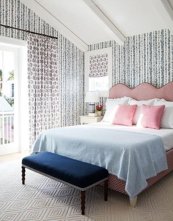Pink Scalloped Headboard wth Blue Bench - Transitional - Bedroom