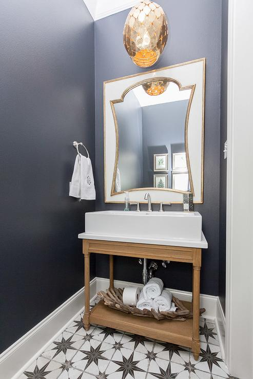 Art Deco Mirror With Navy Blue Powder Blue Walls Transitional Bathroom