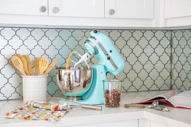 Light Blue Moroccan Trellis Tiles With Turquoise KitchenAid Mixer