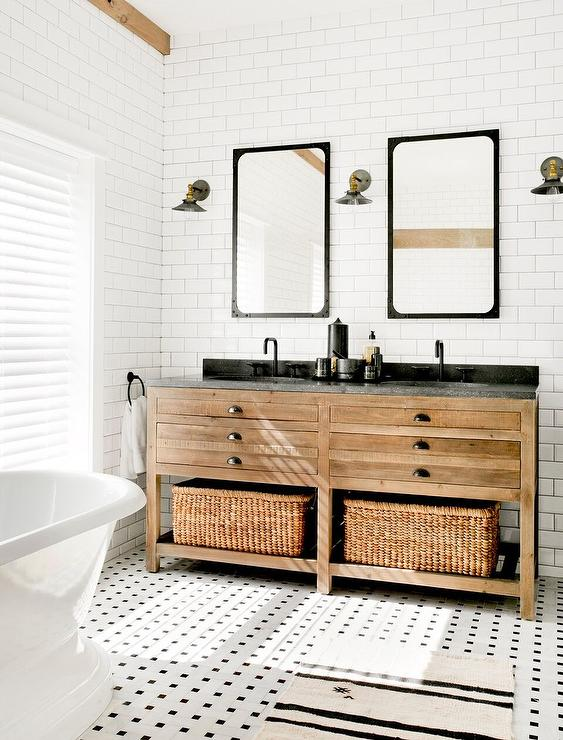 Weathered Pine Dual Washstand With Black And White Vintage Marble