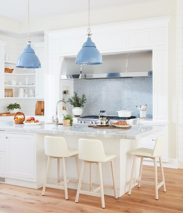 Welcoming White Kitchen Is Illuminated By Regina Andrew: Blue Kitchen Island With Green Half Moon Barstools