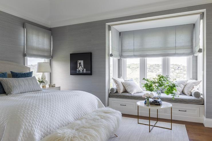 White and Platinum Gray Master Bedroom with Window Seat Nook ...