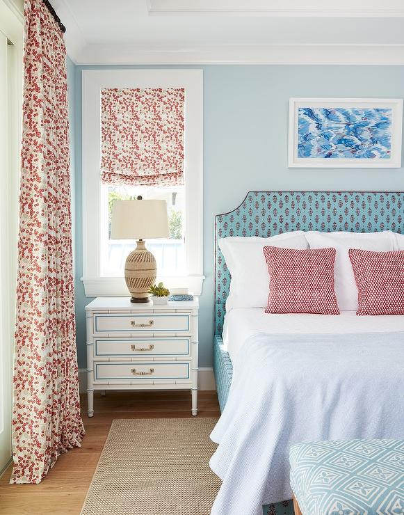 Turquoise Blue and Pink Headboard - Transitional - Bedroom