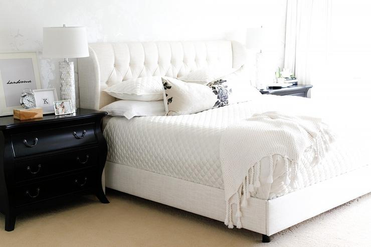 White Tufted Wingback bed with Black French Nightstands ...