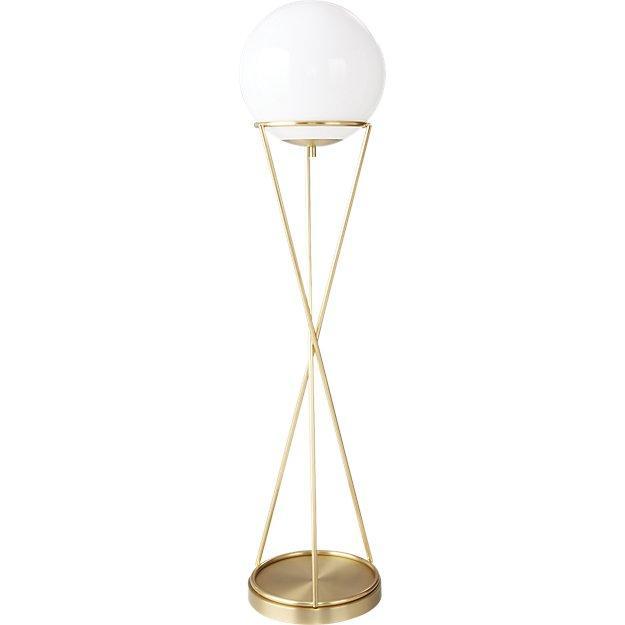 ef3fbf5766b2 Solis Globe Hourglass Brass Floor Lamp