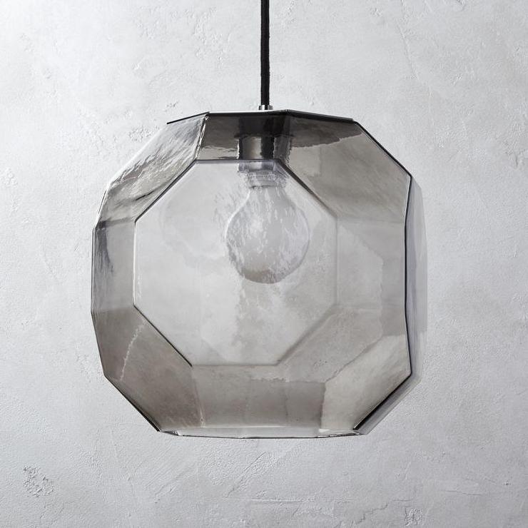 199afadca153 Geometric Flat Smoked Glass Pendant Light