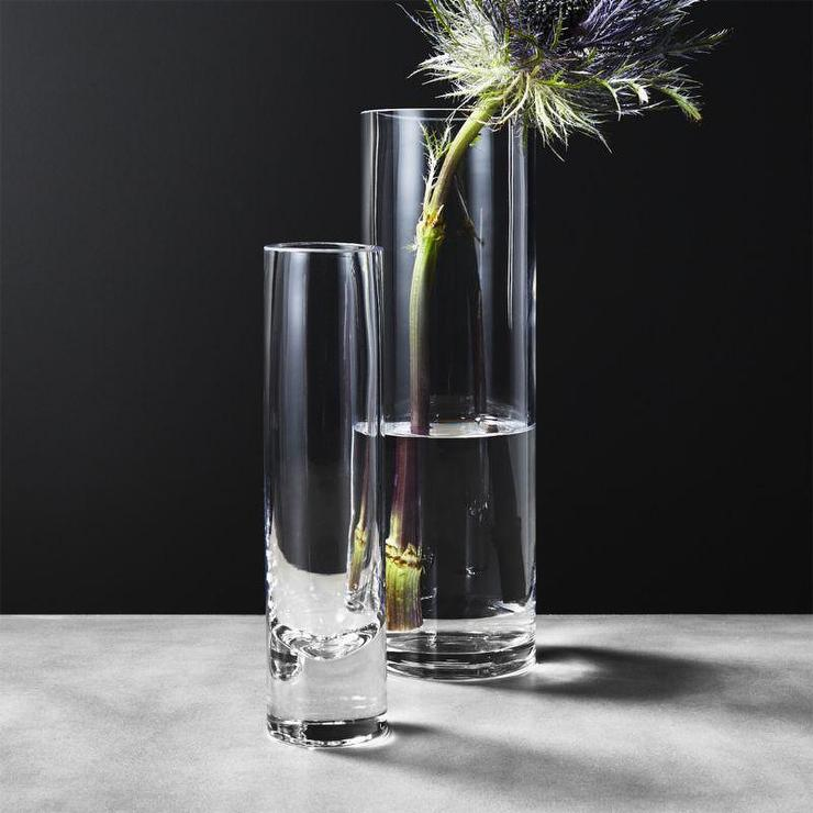 Tall Clear Cylinder Glass Vases