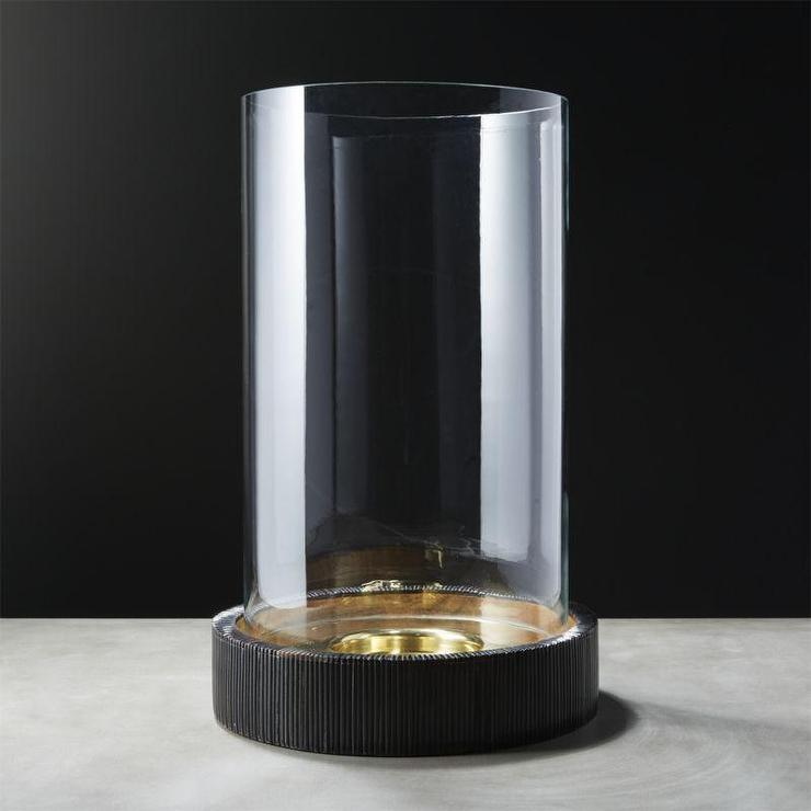 Ellis Horn Metal Base Glass Hurricane