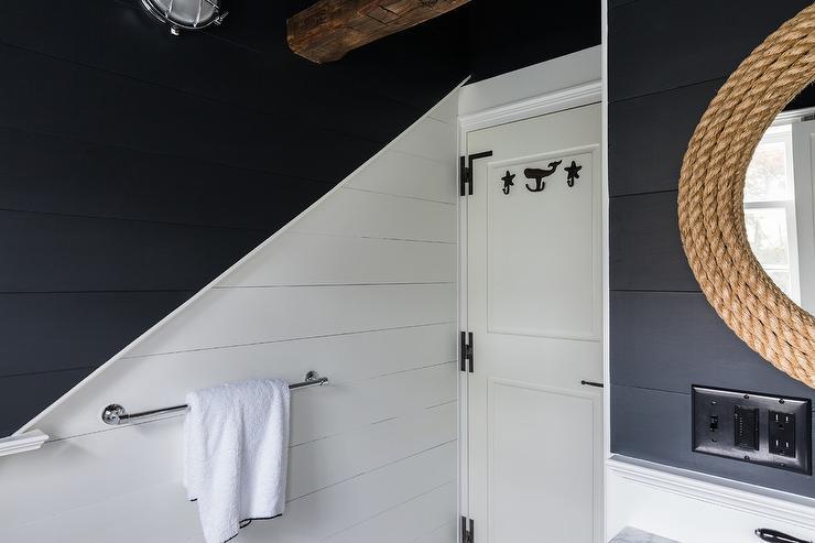 White and Black Shiplap Bath Walls - Cottage - Bathroom