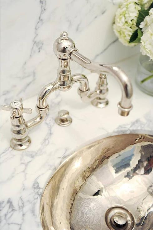 Hammered Silver Powder Room Sink With Vintage Hook And Spout Faucet