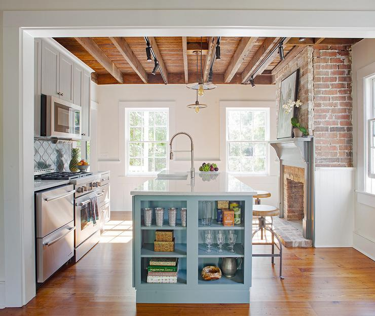 Gray Beadboard Cabinets With Blue Island Transitional Kitchen