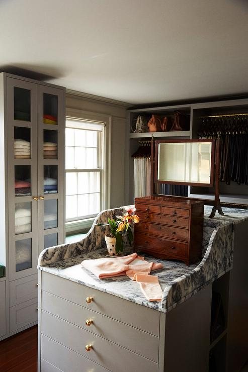 Gray Custom Closet Island With Gray And White Marble Top