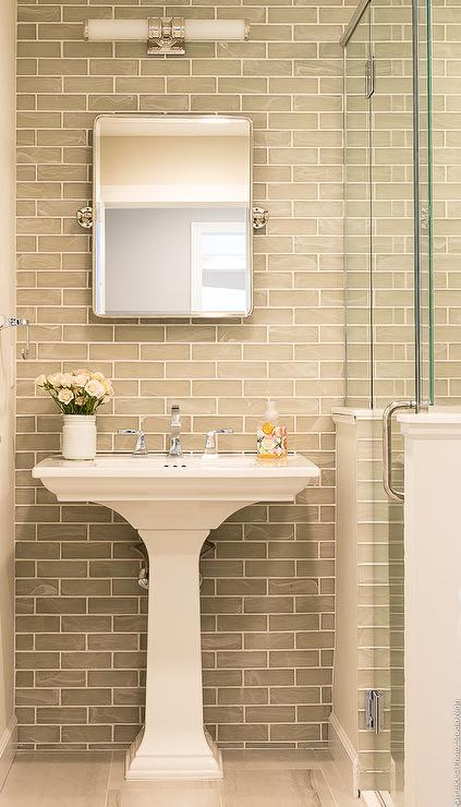 Gray Glass Brick Tiles With White Pedestal Sink