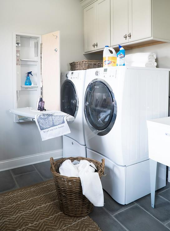 Pull Down Ironing Board in Cabinet - Transitional - Laundry Room Laundry Room Front Load Washer Pedestal Home Designs on glass washer, counter over front-loading washer, laundry room front loader counter top,