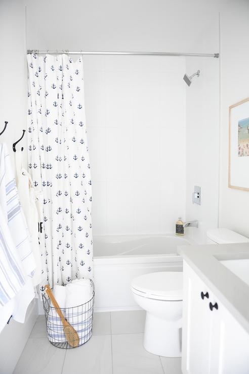 Navy Blue Anchor Print Shower Curtain