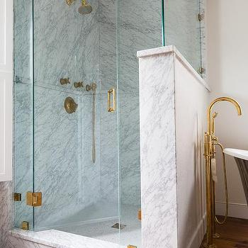 Corner Glass Shower With Shiplap Walls Transitional