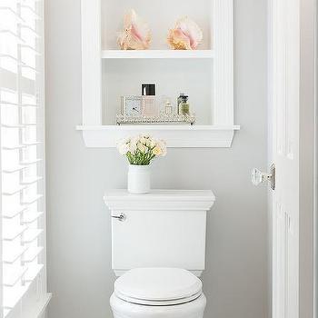 Inset Custom Shelves Over Toilet
